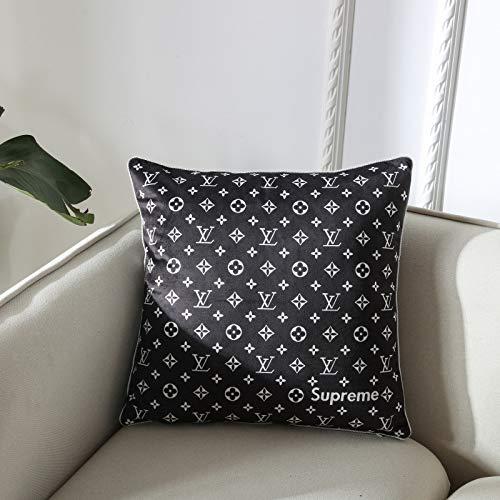 Sofakissen Schwarz-Weiß-Kissen mit europäischem Aufdruck und klassischem Sofakissen mit schwarzem Kissenbezug 45x45 cm