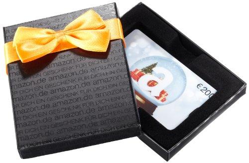 Amazon.de Box mit Geschenkkarte - 200 EUR (Schneekugel - schwarz) (österreich Schneekugel)