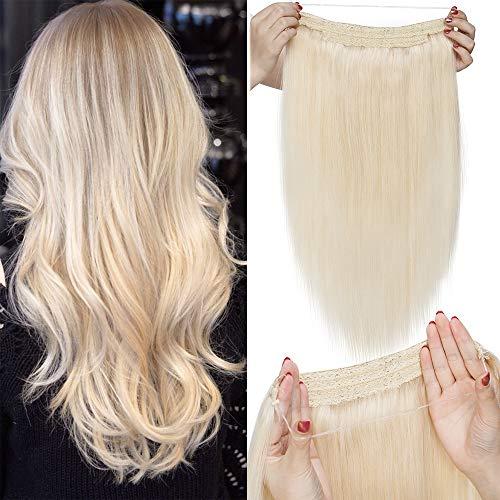 """TESS Extensions Echthaar 1 Tresse Doppelt Dicke Draht komplette Haarverlängerung guenstig Haar Extensions Glatt 16""""(40cm)-90g #60 Weißblond"""