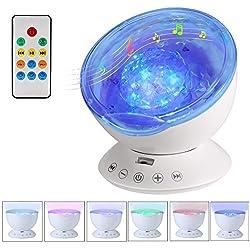 Vorally RGB LED Ocean Lámpara para proyector, Lámpara de noche con 7 luces de modo, Altavoz, 12 Led de luz nocturna, Música hipnótica para niños Relájese y duerma, Decoración de fiesta y dormitorio [Blanco]