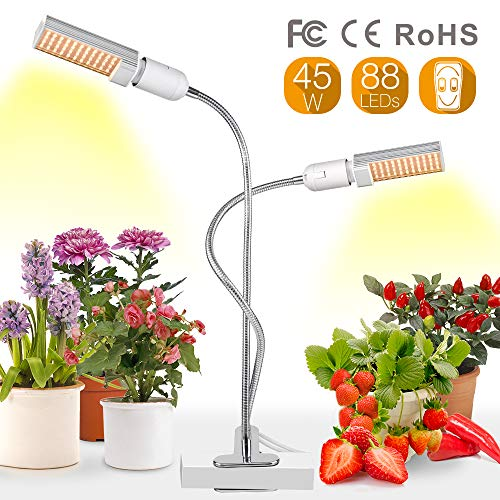 Relassy Lampara Led Cultivo Grow Light 45W Con bombillas de doble Reemplazable E27 y cuello de cisne flexible para Plantas Cultivo Indoor Hidropónica (F-45W)