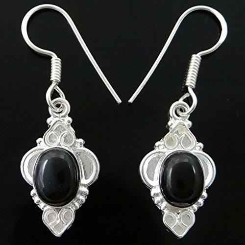 La Mode Indienne Couleur Noire Dangle Boucles D'Oreilles Cadeau De Bijoux Traditonal Pour Elle Noir-4