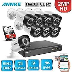 Sistema de 8 Cámaras de seguridad de vigilancia de CCTV 1080P con 2TB Disco duro Acceso remoto Visión nocturna 24 IR LEDs Exterior/Interior