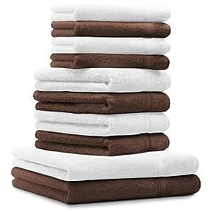 10 tlg. Luxus Handtuch Set GOLD Farbe: Weiß & Nuss Braun Qualität 600 g/m² 100% Baumwolle 2 Duschtücher 70 x 140 cm 4 Handtücher 50 x 100 cm 4 Seiftücher 30 x 30 cm
