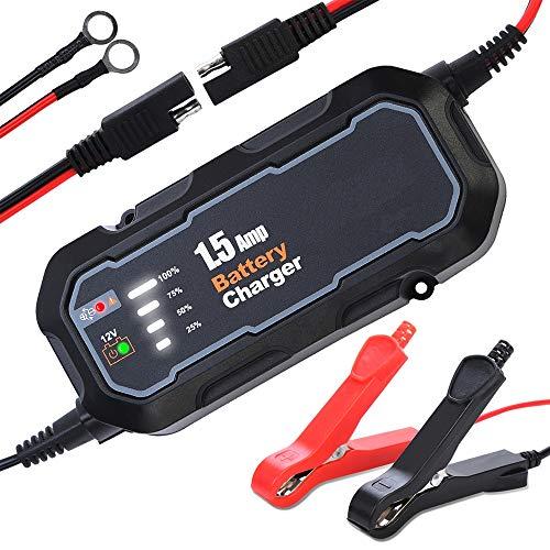 CWWHY Automatischer Batterieladegerät-Aufrechterhalter 12V 1500mA Smart Float-Batterieladegerät mit LED-Ladezustandsleuchten
