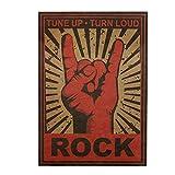 Haihuic Altes Rock-Art-Retro-Plakat Vintage Kraftpapier drucken Wandkunst für Wohnkultur Retro Cafe Bar 51,5 × 36 cm Rock Hörner