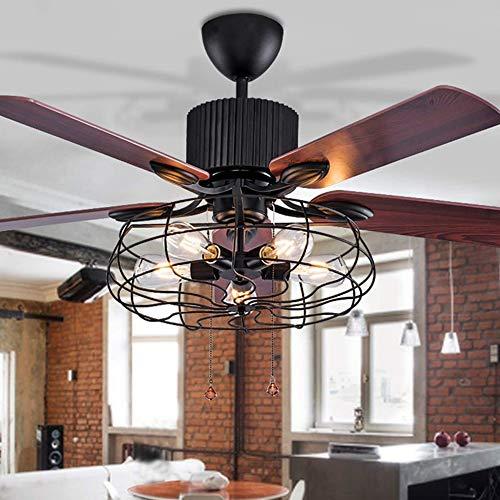 Gmadostoe LED Lüfter Kronleuchter, mit Beleuchtung Fernbedienung Loft Deckenventilator, Retro Electric Fan Mute Remote Leaf Fan Lampe (ohne Glühbirne) - Low-profile-speicher-kit