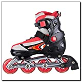 Inline-Skates Inlineskates Skates Rollschuhe Rucksack verstellbar 29-32 33-36 37-40 40-43 PW-126B Rosa Rot Schwarz (Rot, 40-43)