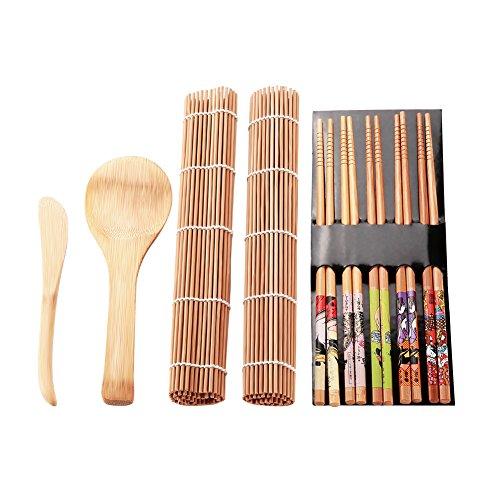 Kit para Hacer Sushi, Bamboo Sushi Making Kit con Palillos, Cucharas y Esterillas de Bambú Natural de Excelente Calidad, Family Office Party Hecho en casa Sushi Gadget para Amantes de la Comida