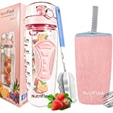 Nutriflask Fruit Infuser Water Bottle - 1 Litre, Infusion Detox Recipe EBook, Bottles Cover And Other Accessories (Rosegold)
