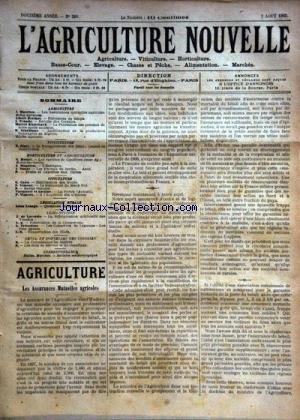 AGRICULTURE NOUVELLE (L') [No 589] du 02/08/1902 - AGRICULTURE PAR MAURION - BERTHOT - BLANCHARD ET SCHRIBAUX - HORTICULTURE PAR MOTTET - MAGNIEN ET NANOT - VITICULTURE PAR CANU ET VIMEUX - VERMOREL ET GASTINE - PISCICULTURE PAR ZIPEY - LA REFRIGERATION ARTIFICIELLE DES VIANDES PAR DE LOVERDO - LES CONSERVES DE LEGUMES PAR TRITSCHIER - par Collectif