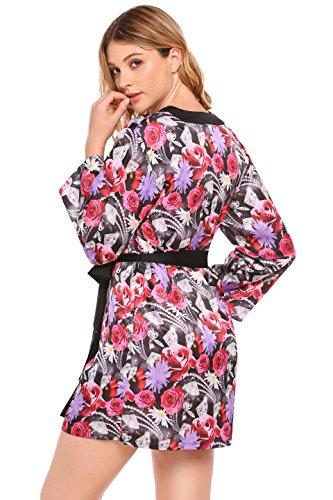 Ekouaer Damen Blumendruck Morgenmantel Satin Kimono mit Gürtel Druck ...