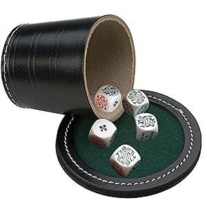 Engelhart – Taza de Juego de Dados con Cubilete de Cuero Negro Real y Tapa – Diam. 9 cm + Dados 18 mm (+ 5 Dados de…