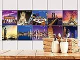 GRAZDesign 770496_10x10_FS10st Fliesenaufkleber Set Städte - Einmal um die Welt für Küche und Badezimmer  Fliesenbild selbst Gestalten   einfach alte Fliesen überkleben (10x10cm // Set 10 Stück)