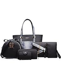 103ea7e4bb0f3 Tisdaini Damen Handtasche Mode Serpentin Paket sechs Sets + Schulter  diagonal Paket + Geldbörse