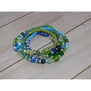 Armband Böhmische Glasperlen Perlen Kette Halskette auffällig Klunker Stretch Sommer Wickelarmband bunt grün Aqua silber schick exzentrisch Ibiza Style Statement