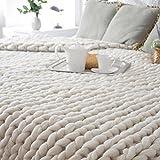 Huihong 100X80cm Hand klobig gestrickte Decke dicke Wolle sperrig stricken Decke Home Decor Geschenk/Büro warme Decke (Beige)