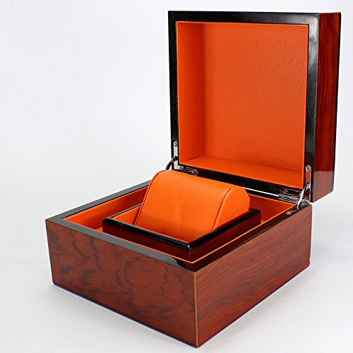 Hochwertig lackierte Holz Korn Uhrenbox 1 Uhr Bit Aufbewahrungsbox MDF Schmuck Holzbox Armband Box Orange (Aufbewahrungsbox Lackierte)