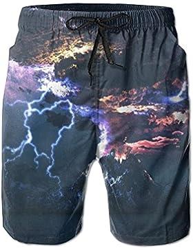 Funny Caps Volcano Eruption Lightning Men's/Boys Casual Shorts Swim Trunks Swimwear Elastic Waist Beach Pants...