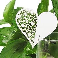 oeyfiea Confezione da 100Shimmer taglio laser bianco cuore segnaposto, colore: Champagne/Vino decorazioni in vetro, matrimoni feste di fidanzamento favore, numero tavolo Decor (100)