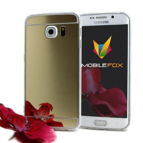 Mobile Fox Blanche-Neige Etui Miroir TPU Case & Panzer Verre Smartphone or