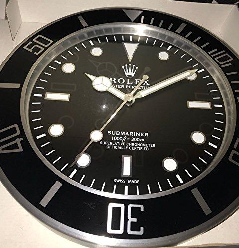REPLICA Rolex 35 CM da Muro Submariner GHIERA Nera Metallo Movimento Silenzioso