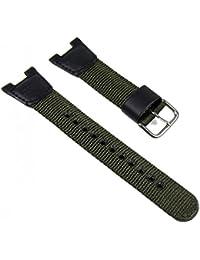 Casio Ersatzband Uhrenarmband Textil/Leder Band schwarz-Olive SGW-100B