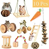 ESRISE Apple Sticks Bunny Hamster Chew Toys, Natural Grass Cake Molar Teeth Grinding Toy for Guinea Pigs Chinchilla Squirrel Rabbits, Pet Chew Snacks for Teeth (10 pcs)