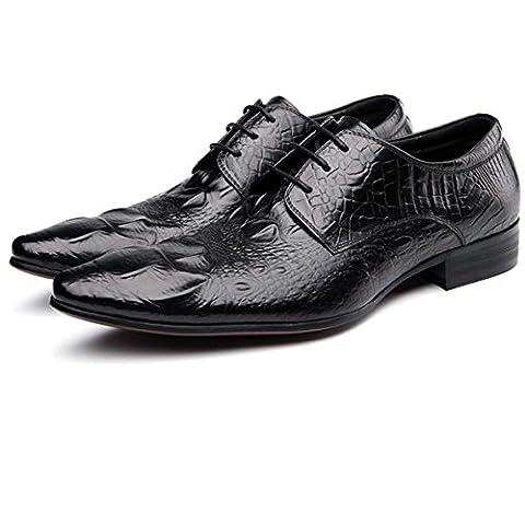 WZG los zapatos ocasionales de los nuevos hombres zapatos casuales zapatos de cuero puntiaguda patrón de cocodrilo zapatos de cuero de zapatos de la boda de negocios 9.5 , black , 44