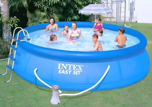 Kit complet INTEX : 1 Piscine gonflable autoportante 4,57 m x 1,07 m +1 épurateur + 1 échelle + 1 tapis de sol + 1 bâche