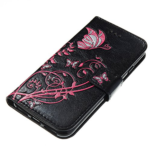 Custodia in Pelle per iPhone 7,Portafoglio Wallet Cover per iPhone 7,Leeook Retro Elegante Goffratura Rosa Farfalla Fiore Modello Cordoncino Snap-on Magnetico Carte Slot e Supporto Funzione Bookstyle  Farfalla,Nero