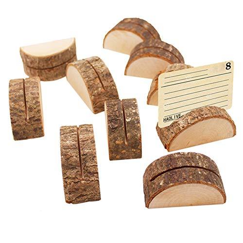 Egurs 10 Stück halbzylindrische hölzerne Hochzeitstafel Nummer Stand Name Nummer Inhaber Clip Card Foto Bild Hinweis Clip Inhaber
