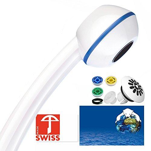 Duschkopf wassersparend MARINA – Handbrause mit Massagestrahl, kalkfrei, 3 Mengenregler für 4 Durchflussmengen, Aufsatz für weichen Regenstrahl; Made in Switzerland direkt vom Hersteller Aquaclic