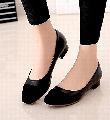 Mee Shoes Damen bequem süß mischfarben Vierkant niedriger Absatz Nubukleder Oxford Sohle Geschlossen Pumps Schwarz