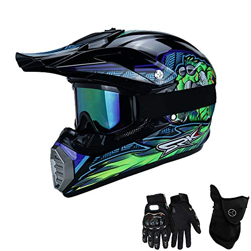 Motorradhelm, Full face Motocross Helm Sport Adventure Racing Motorrad-Helm Motocross Schutzhelm MTB Schutz Sicherheit Helm mit Handschuhe Maske Brille,S 52~53CM ()
