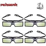 Pergear 144Hz 3D DLP-Link Active Shutter Glasses For Optoma/BenQ/Acer/LG/Sharp/Vivitek/Dell/ViewSonic/NEC/CASIO Projectors (4 Pcs)