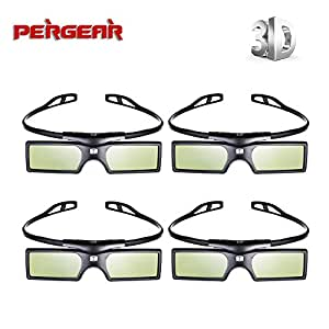 Pergear 144 HZ Lunettes 3D Obturateur actif DLP-Link pour projecteur Optoma/BenQ/Acer//LG/Sharp/Dell/ViewSonic/Vivitek/NEC/Casio Projecteurs