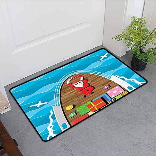Beige-deck-matte (Kinhevao Fußmatte im Freien, Santa Father Christmas, die auf dem Deck Einer Yacht am Seeträger der Überraschungsgeschenke, für im Freien und Innen, Mehrfarbenbad-Matte liegt)