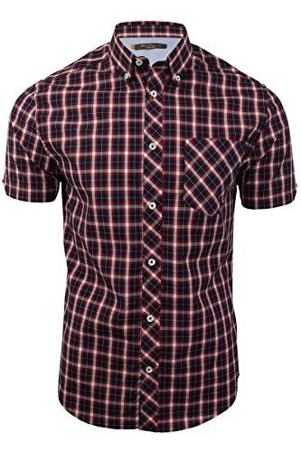 ben-sherman-camisa-casual-cuadrados-con-botones-manga-corta-para-hombre-azul-blue-twilight-medium
