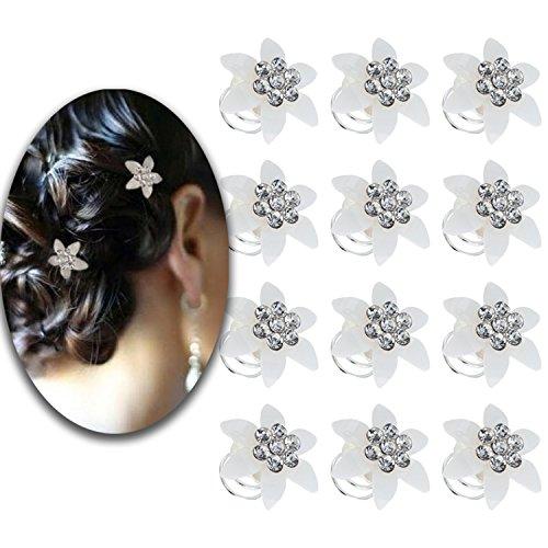 ling Set aus 12Spirale hairdos Pins Twist Haarnadeln Twister Folien Curlies Spiralen Brautschmuck Brides Hochzeiten Dekorationen mit Weiß Acryl Blumen und Kristalle Strass (Strass-folien)