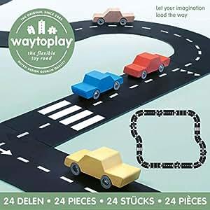 waytoplay 24 Highway, Building Set, Schwarz mit Weiß Striping