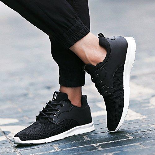 JOYTO Scarpe da Ginnastica Uomo Corsa Running Fitness Basse Casual Leggero Stringata Sneakers Estate Nero Blu Verde 39-44 Nero