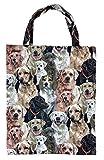 ILKADIM Einkaufstasche, Stofftasche Leinen 40 x 32cm, Motiv Hunde, Einkaufsbeutel Gobelin-Stil