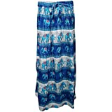 Mogul Interior Womans Long Skirt Tribal Spirit Elephant On Trail Summer Boho Blue Flare Skirts S