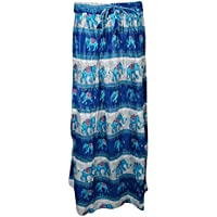 Mogul Interior Womans Long Skirt Tribal Spirit Elephant On Trail Summer Boho Blue Flare Skirts S