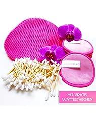 10 Abschminkpads waschbar Pink + 100 biologische Wattestäbchen aus Bambus & Baumwolle Inkl. Wäschebeutel zum Aufhängen