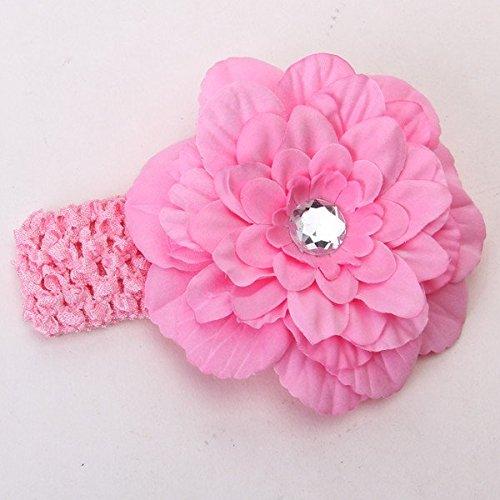Generic Elastic Baby Toddler Girls Crochet Headband Rhinestone Peony Flower Hair Clip Headwear 2pcs