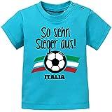 Mikalino Baby T-Shirt So sehn Sieger aus - Italien - Italia kurzarm, Farbe:atoll-blue, Grösse:92/98