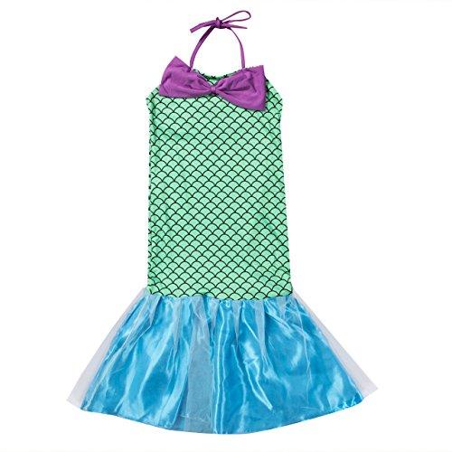 Geagodelia Kinder Mädchen Kleider Ärmellos Neckholder Prinzessin Kleid Meerjungfrau Fischschwanzrock Cosplay Fotografie ()
