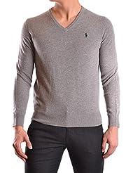 RALPH LAUREN - Pull col V Ralph Lauren en laine gris pour homme